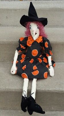 Primitive Witch Doll Hand Painted Face Shelf Sitter Halloween Decor