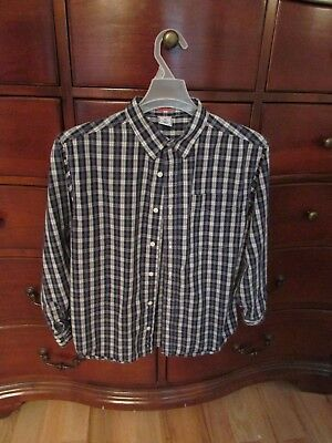 Old Navy Boys Plaid Button-up Shirt, size 18, Blue, White, Green
