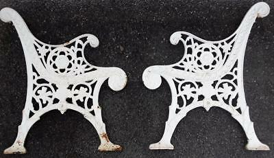 *ORNATE BEAUTIFUL VINTAGE DECORATIVE CAST IRON GARDEN PARK BENCH ENDS SoCAL PU*