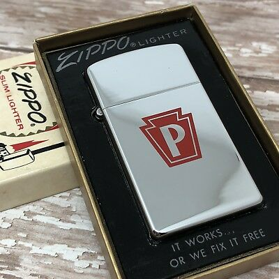 1969 Vintage Slim Zippo Lighter - Red Keystone Logo - Pennsylvania - Unfired