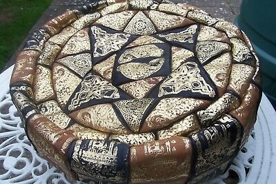 """Moroccan Real Leather Pouffe Foot Stool  Not Stuffed No Zip 15"""" Diameter"""