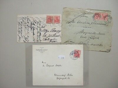 Three old Germany covers:1899 pair stamps