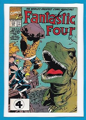"""Fantastic Four #346_November 1990_Very Fine Minus_""""the Island That Time Forgot""""!"""