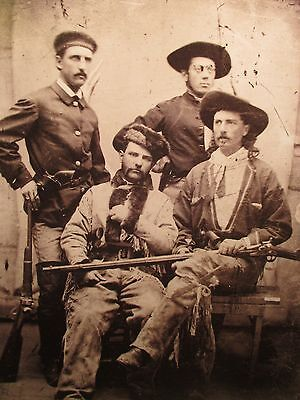 Young Buffalo Bill Cody with 3 Unknown Cowboys Photograph Print Cody Museum