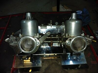 Mgb Su Carburettor Set Hs4, With Manifold, Stainless Backplate, Recent O/haul