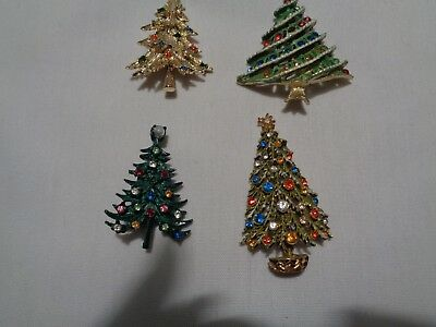 lot of 4 vintage Christmas tree pins brooches excellent condition holiday
