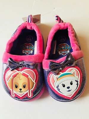 16a84aefddbe Girls Toddler PAW PATROL SLIPPERS Pink Purple SKYE   EVEREST Fabric Size S  ...