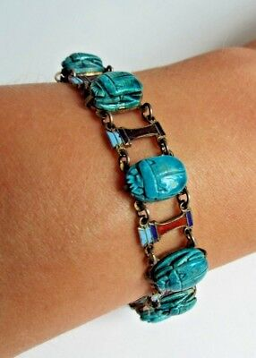 1920's Egyptian revival silver bracelet  old scarabs & djed enamel panels Lovely