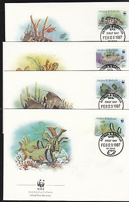 Antigua & Barduba 1983 WWF Reef Set on 4 FDC's Cat £4
