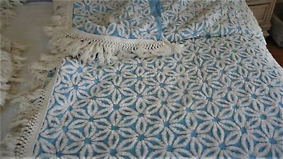 Vintage 1950's Chenille Set of 2 Twin Bedspreads Daisy  BLUE & WHITE