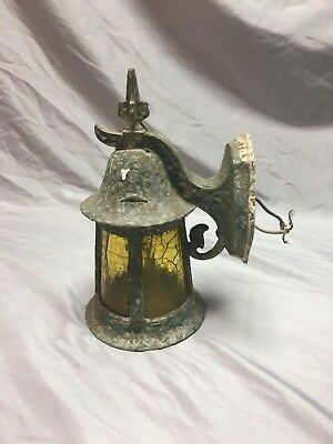 Antique  porch Sconce Light Fixture Amber Stained Glass Vtg Old Cottage  103-18J