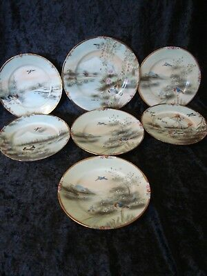 An Antique Or Vintage Japanese Painted Eggshell Porcelain Plates.