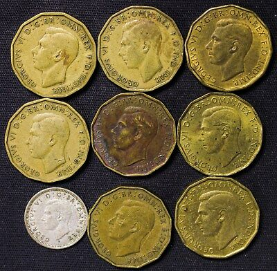 Lot of 9 Great Britain Three 3 Pence 1937-1944