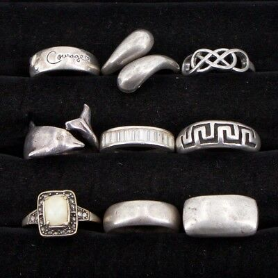 VTG Sterling Silver - Lot of 9 Assorted Gemstone & Solid Rings NOT SCRAP - 41g