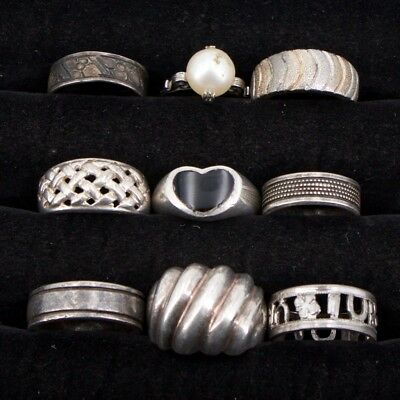 VTG Sterling Silver - Lot of 9 Assorted Gemstone & Solid Rings NOT SCRAP - 31.8g