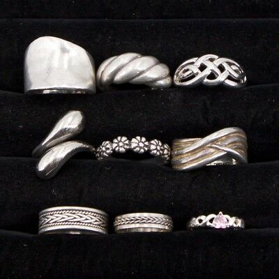 VTG Sterling Silver - Lot of 9 Assorted Gemstone & Solid Rings NOT SCRAP - 48g