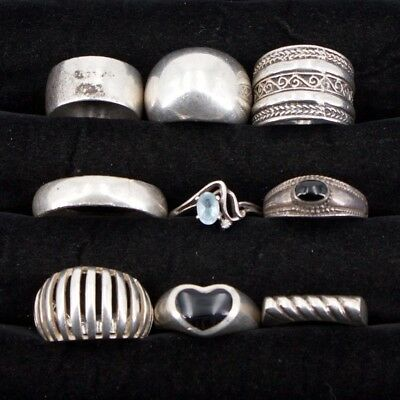 VTG Sterling Silver - Lot of 9 Assorted Gemstone & Solid Rings NOT SCRAP - 52g