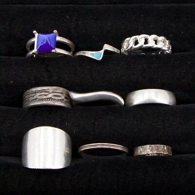 VTG Sterling Silver - Lot of 9 Assorted Gemstone & Solid Rings NOT SCRAP - 35.8g