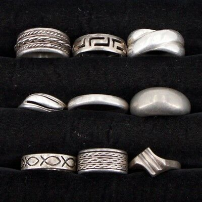 VTG Sterling Silver - Lot of 9 Assorted Solid Rings NOT SCRAP - 39.7g