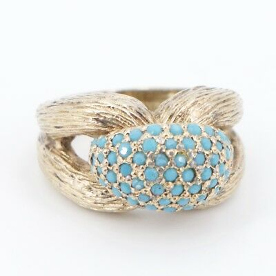 VTG Sterling Silver - Turquoise Pave Intertwined Ring Size 6.75 - 14.5g