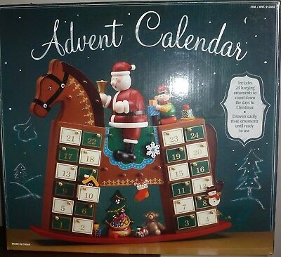 "Wooden Rocking Horse Christmas Advent Calendar With 24 Ornaments 15.5"" MINT"