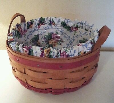 Longaberger 1995 Mothers Day Basket Of Love Combo 18805 Liner Protector Euc