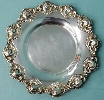 Estate Signed Hazorfim 925 Silver Floral Plate Tray For Kiddish Cup 53.9g SC676