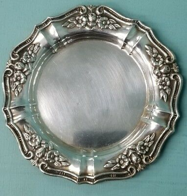 Estate 925 Sterling Silver Ornate Floral Plate Tray For Kiddish Cup 44.3g SC681