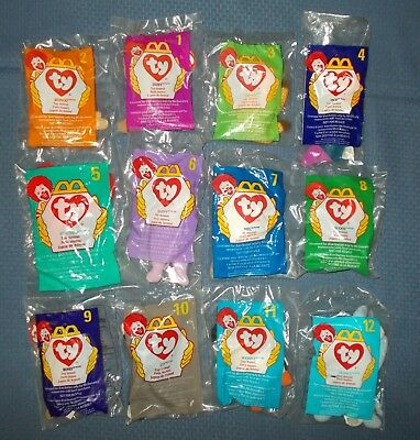 Complete Set of 12 Ty Teenie Beanie Babies McDonalds 1998 Happy Meal Toys