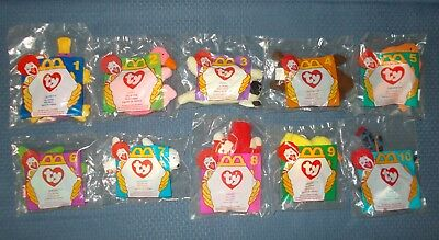 Complete Set of 10 Ty Teenie Beanie Babies McDonalds 1996 Happy Meal Toys