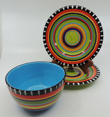 Pueblo Springs by Gibson 2 Salad Plates & 1 Soup Cereal Bowl Multicolor Bands