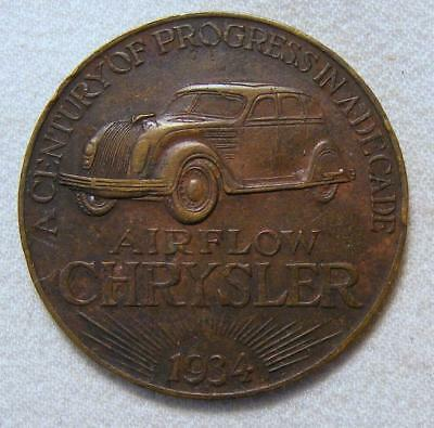 """1934 10th Anniversary Coin For Chrysler Cars """"A Century Of Progress In A Decade"""""""