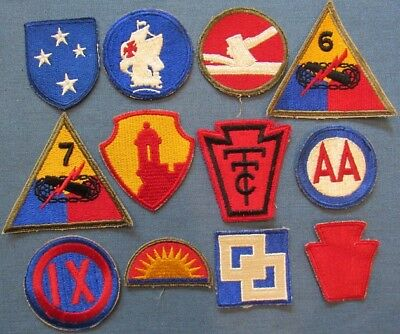 Lot of 12 WWII US Army shoulder patches (4)