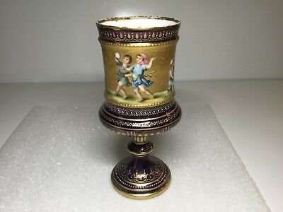 Royal Vienna Beehive Mark Beaded with Gold Band Children Scenes Goblet