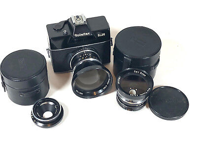 "Rolleiflex SL26 Camera,3 Carl Zeiss Lenses+Two Cases-1968–1973-SOLD ""AS-IS""."