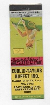 WWII Matchbook Cover EUCLID TAYLOR BUFFET East Cleveland OH Victory Pin up S2475