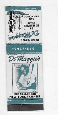Vintage Matchbook Cover DIMAGGIO'S RESTAURANT San Francisco CA NY Yankees S2440