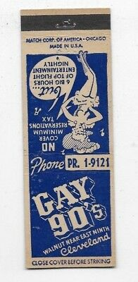 Vintage Matchbook Cover GAY 90'S CLUB Cleveland OH Girlie S2447