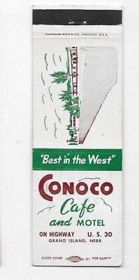 Vintage Matchbook Cover CONOCO CAFE AND MOTEL Grand Island NE S2446