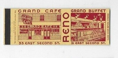 Vintage Matchbook Cover GRAND CAFE AND BUFFET Reno NV S2434