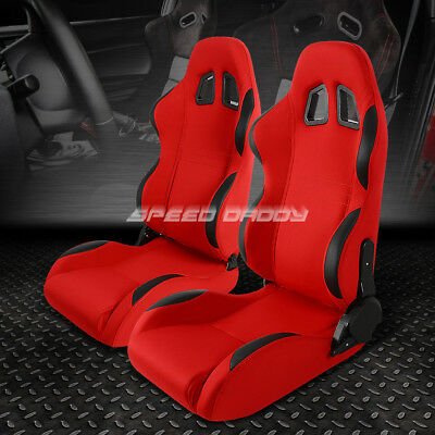 Pair Fully Reclinable Red Fabric/black Trim Bucket Racing Seat+Adjustable Slider