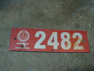 Vintage Navajo Nation License Plate, Sign, 2482, Native American, Indian