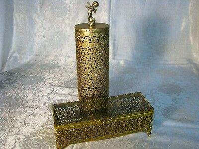 Gold Filigree Hairspray Cover & Vanity Box with Glass Hinged Cover