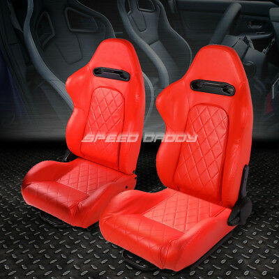 Pair All Red Quited Stitch Reclinable Leather Type-R Racing Seats W/sliders