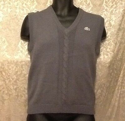 Vintage Izod Lacoste Acrylic Sleeveless Sweater Vest Gray Grey Youth M Medium