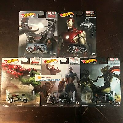 Marvel Studios 5 Car Set * 2018 Hot Wheels Pop Culture Case R