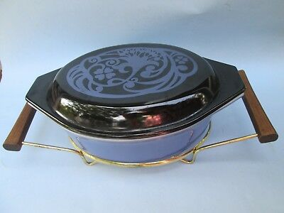 """PYREX """"Midnight Bloom"""" PROMOTIONAL Cinderella Oval Casserole w Stand 1970s Rare!"""