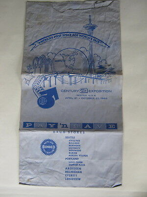 1962 Seattle Century 21 Exposition Fair Pay 'N Save Drug Store Bag
