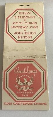 Old Matchbook Cover Colonial Lounge Dearborn Inn