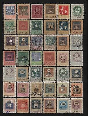 Hungary - 42 old revenue stamps - see scan